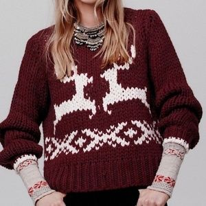 Free People Reindeer Prancer Dancer Sweater